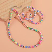 1 Stueck Halskette mit Farbblock & 1 Paar Kreolen