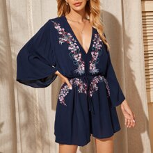 Flounce Sleeve Plunging Neck Embroidery Front Romper