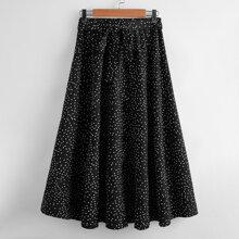 Polka Dot Belted Flared Skirt