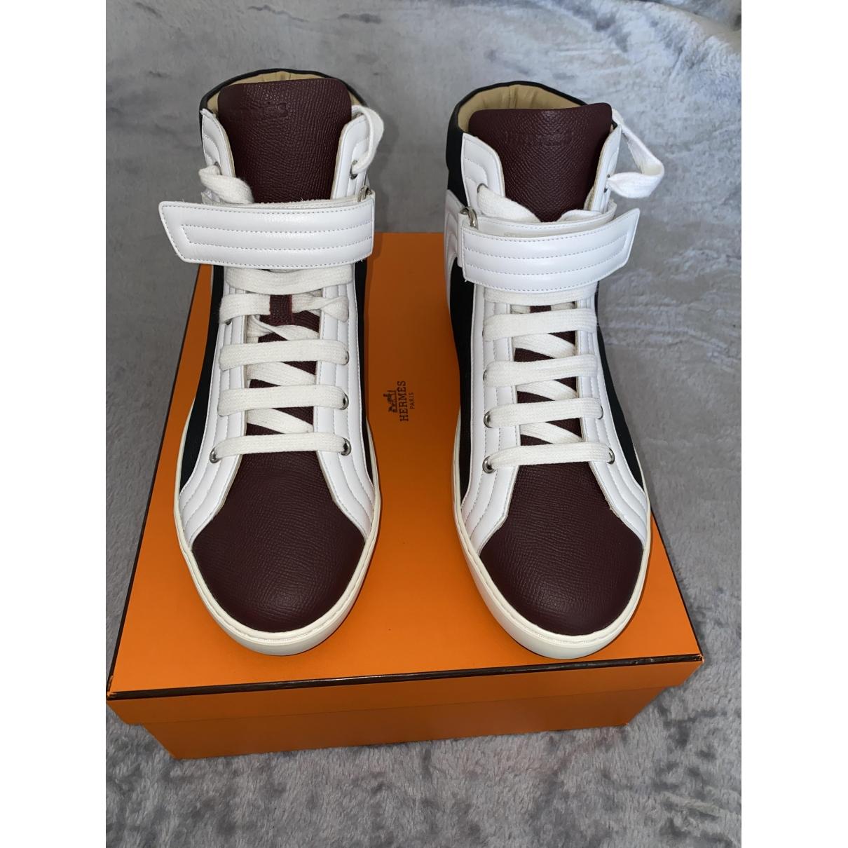 Hermès \N Burgundy Leather Trainers for Men 44 EU