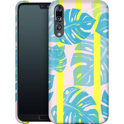 Huawei P20 Pro Smartphone Huelle - Linocut Monstera Neon von Bianca Green