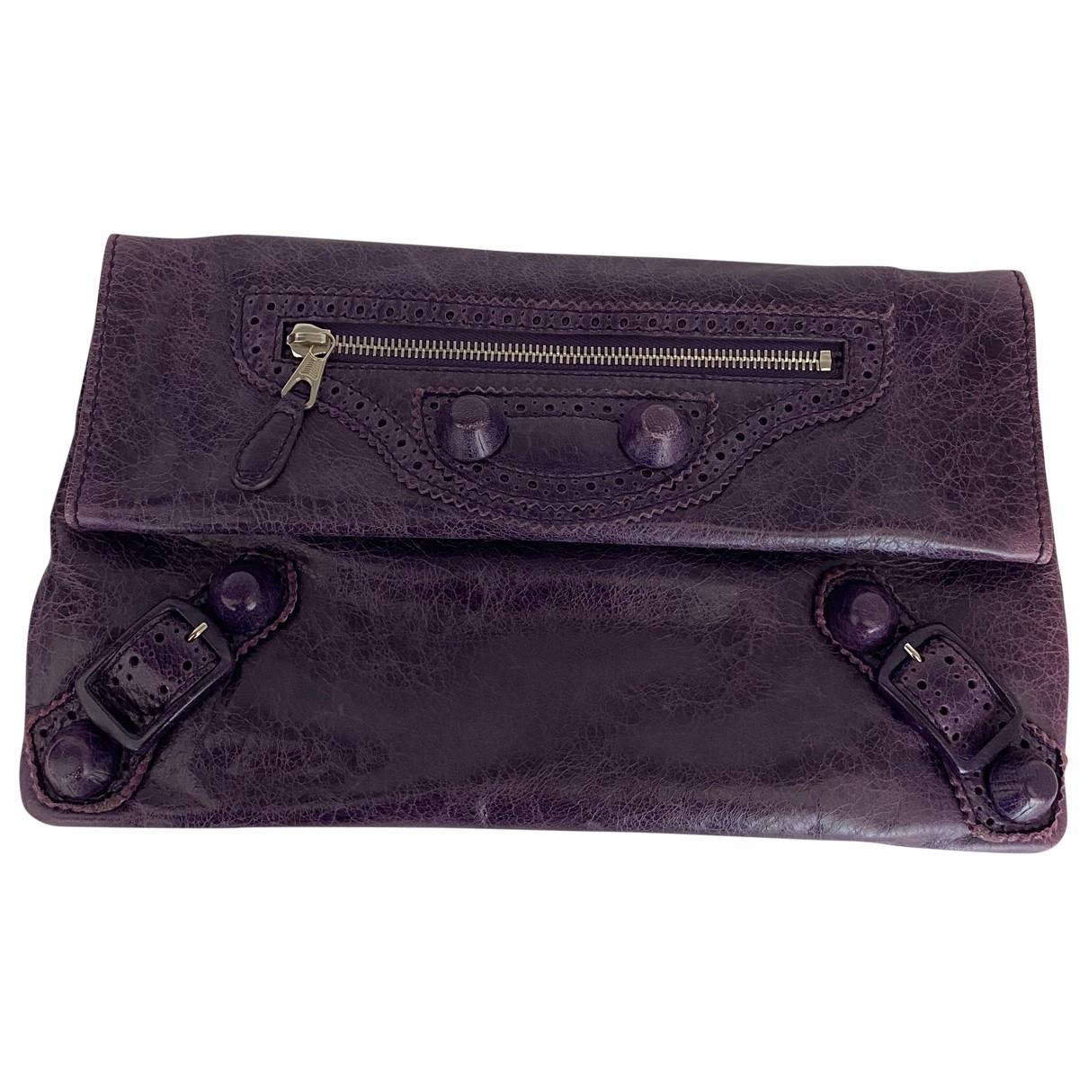 Balenciaga Envelop Purple Leather Clutch bag for Women \N