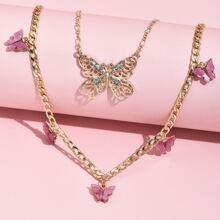 Halskette mit Strass Schmetterling Dekor