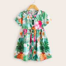 Kleinkind Maedchen Kleid mit tropischem Muster und Knopfen vorn