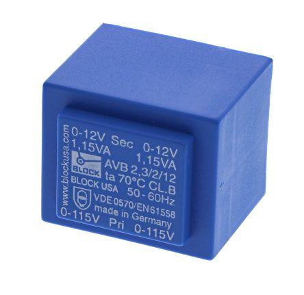 Block 12V ac 2 Output Through Hole PCB Transformer, 2.3VA
