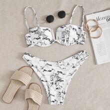 Marble Print V Wired Underwire Bikini Swimsuit