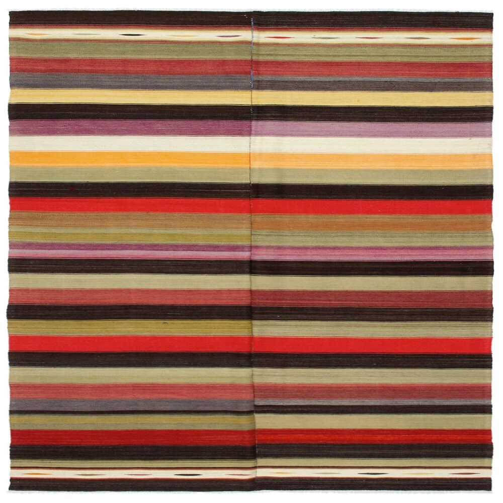 ECARPETGALLERY Flat-weave Bohemian Khaki Wool Kilim - 5'8 x 9'8 (Khaki - 5'8 x 9'8)