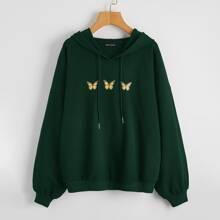 Butterfly Print Drawstring Hooded Sweatshirt