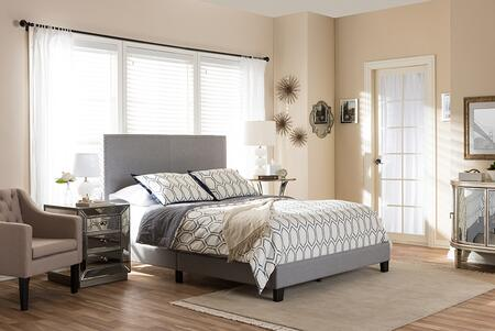 RAMON-QUEEN-GREY Baxton Studio Ramon Modern and Contemporary Grey Fabric Upholstered Queen Size Bed with Nail