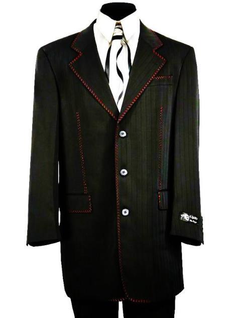 Citywalker Designer Matte 2pc Zoot Suit Set - Black w/ Red Stitching