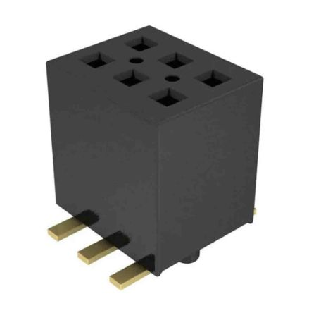 Samtec , FLE, FLE-103 1.27mm Pitch 3 Way 2 Row Vertical PCB Socket, Surface Mount, Press-In Termination (725)