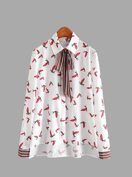 Yoins Bird Printing High Low Hem Shirt with Tie Neck