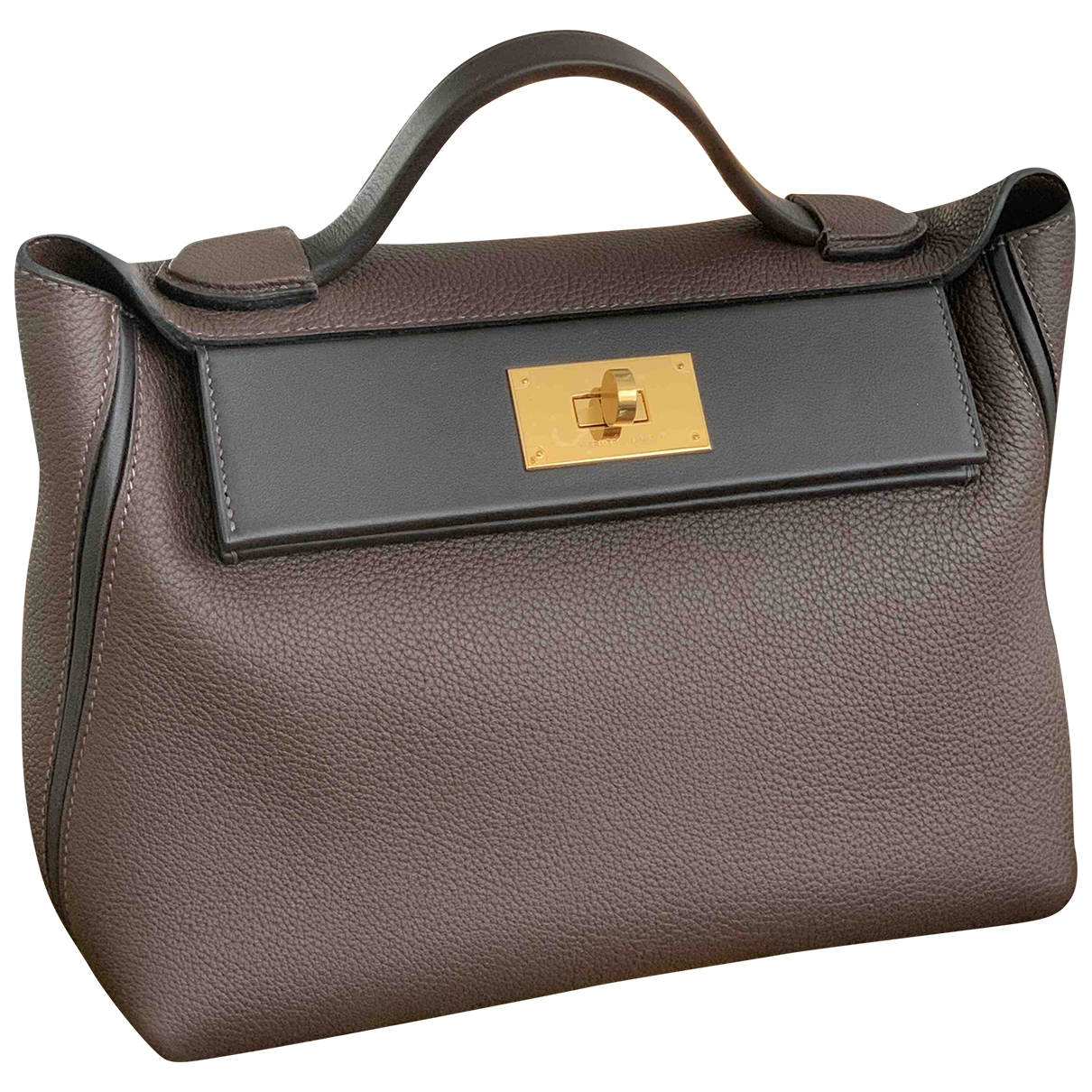 Hermes 24/24 Handtasche in  Braun Leder