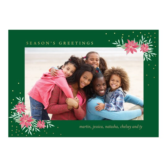 20 Pack of Gartner Studios® Personalized Poinsettia Greetings Flat Holiday Photo Card in Forest | 5