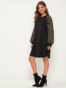 Contrast Dalmatian Raglan Sleeve Dress