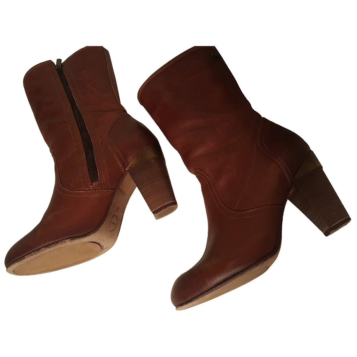Ikks - Boots   pour femme en cuir - marron
