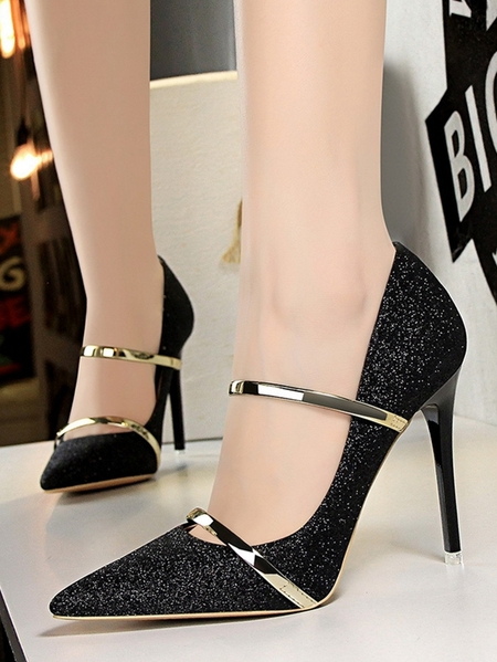 Yoins Sexy Sequin Pointed Sheer High Heels