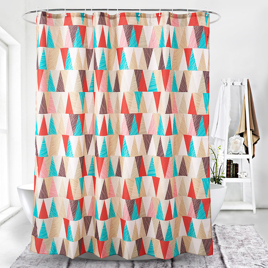 Color Block Geometric Pattern Fashion Style Shower Curtain
