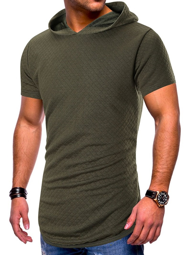 Ericdress Plain Casual Hooded Slim Mens T-shirt