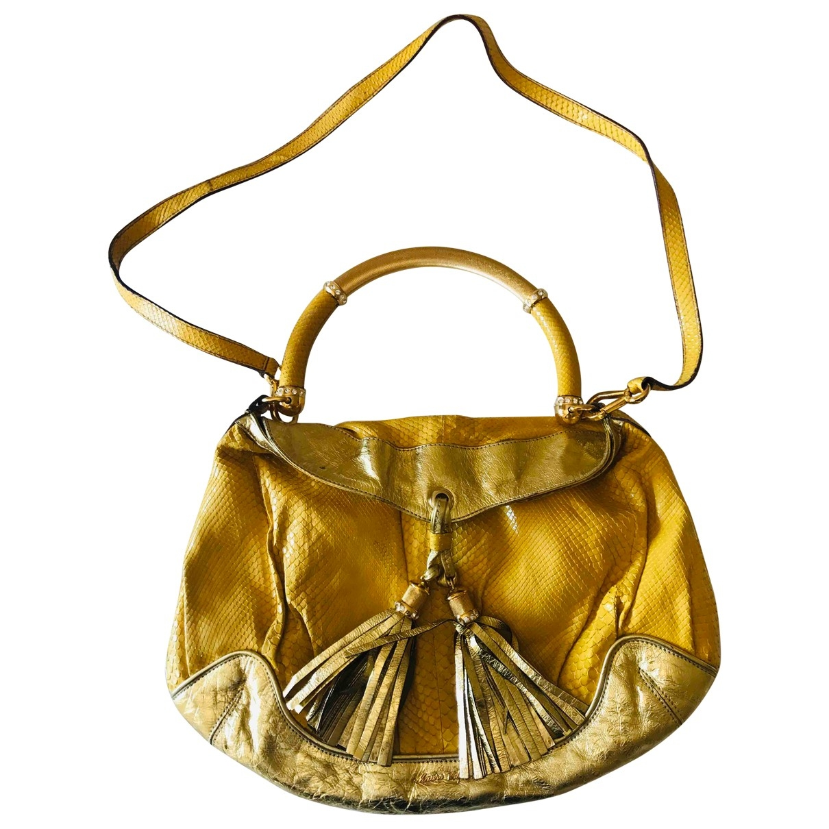 Non Signé / Unsigned \N Yellow Python handbag for Women \N