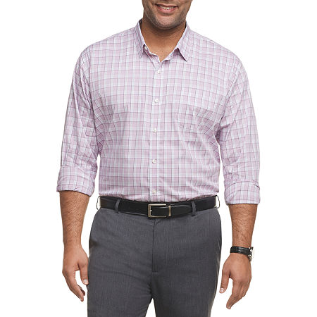 Van Heusen Mens Traveler Classic Fit Stretch Long Sleeve Gingham Button-Down Shirt - Big and Tall, 3x-large , Purple