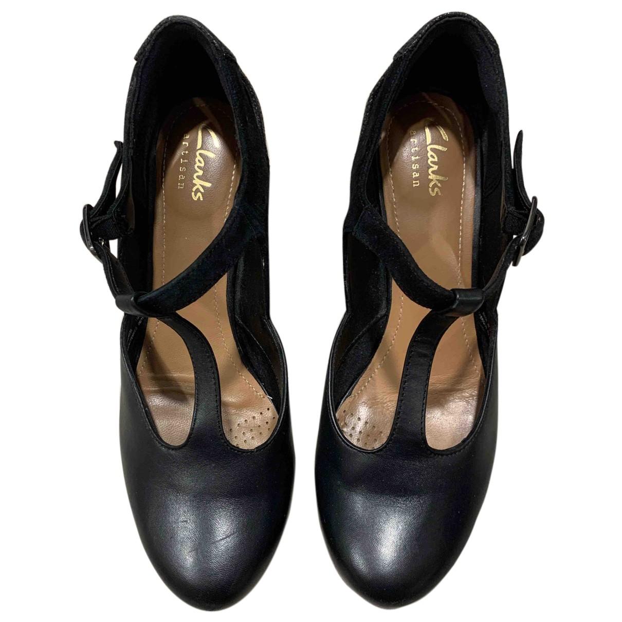 Clarks N Black Leather Heels for Women 36 EU
