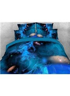 3D Blue Spiral Pattern Galaxy Printing 4-Piece Bedding Sets/Duvet Covers