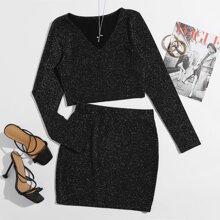 Glitter V-neck Crop Tee & Skirt