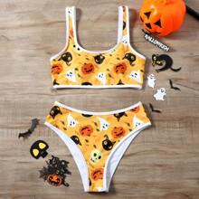 Bañador bikini con estampado de calabaza de Halloween