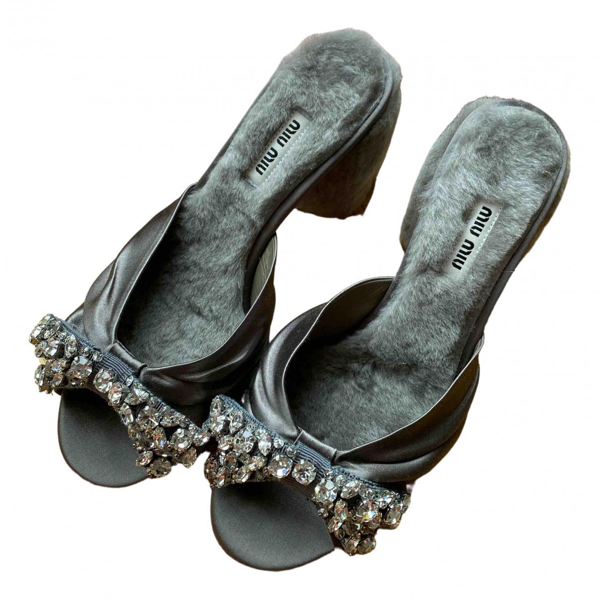 Miu Miu \N Grey Fur Sandals for Women 37.5 EU