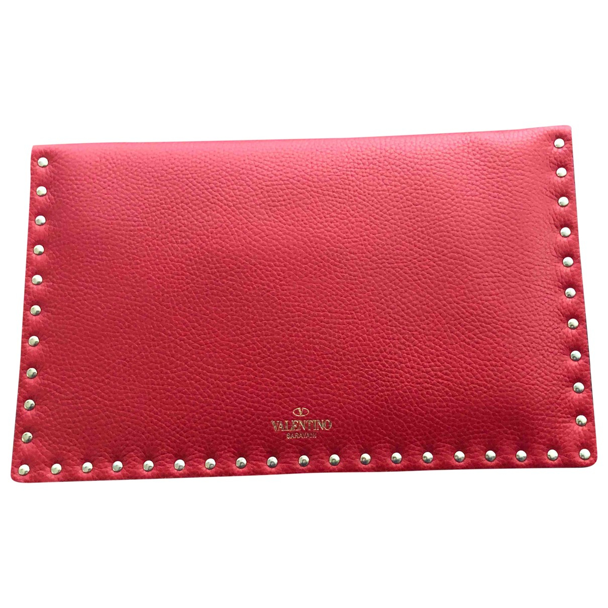 Valentino Garavani My Rockstud Clutch in  Rot Leder