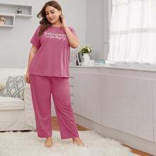 Plus Slogan Graphic Top & Pants PJ Set