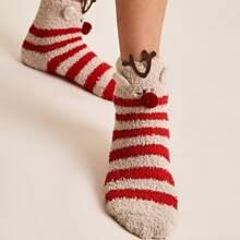 1pair Christmas New Year Striped Socks