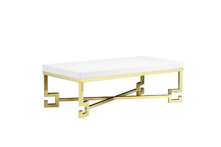 BM191463 Wooden Coffee Table with Designer Metal Feet and X Crossed Support  White and