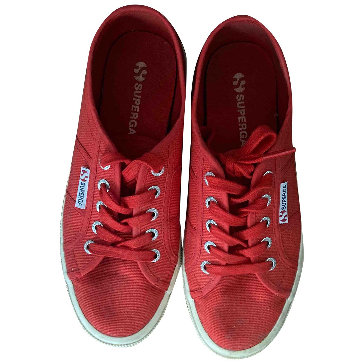 Superga N Red Cloth Trainers for Women 38 EU