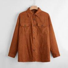 Plus Flap Pockets Drop Shoulder Coat