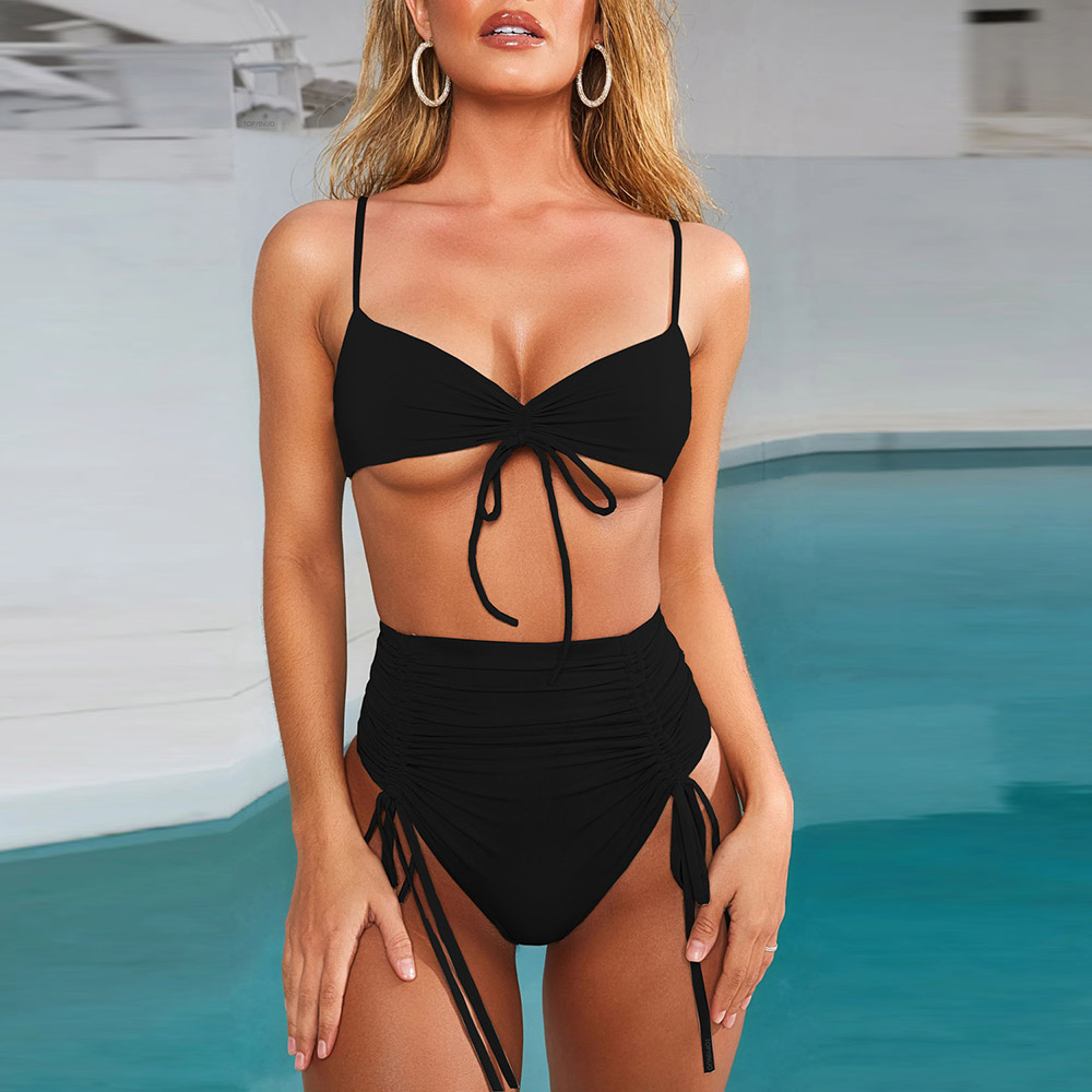 Womens Sexy Straps High Cut Thong 2PCS Bikini Sets Swimsuit