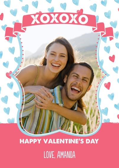 Valentine's Cards 5x7 Cards, Premium Cardstock 120lb, Card & Stationery -XOXO Valentine Hearts