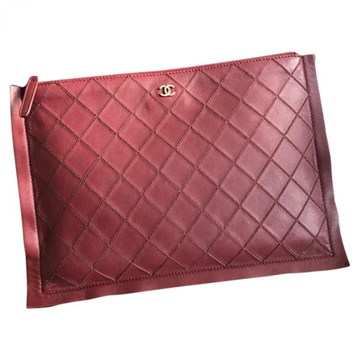 Chanel - Pochette   pour femme en cuir - bordeaux