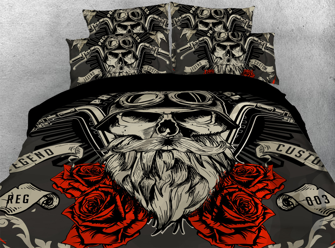 3D Cool Skull with Rose 4-piece No-fading Bedding Sets Durable Digital Bedding Zipper Duvet Cover with Non-slip Ties