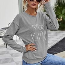 Drop Shoulder Sweatshirt mit Herzen & Buchstaben Grafik