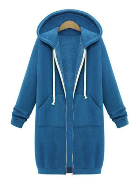 Milanoo Women Hoodie Black Long Sleeves Cotton Blend Hooded Sweatshirt Winter Coat