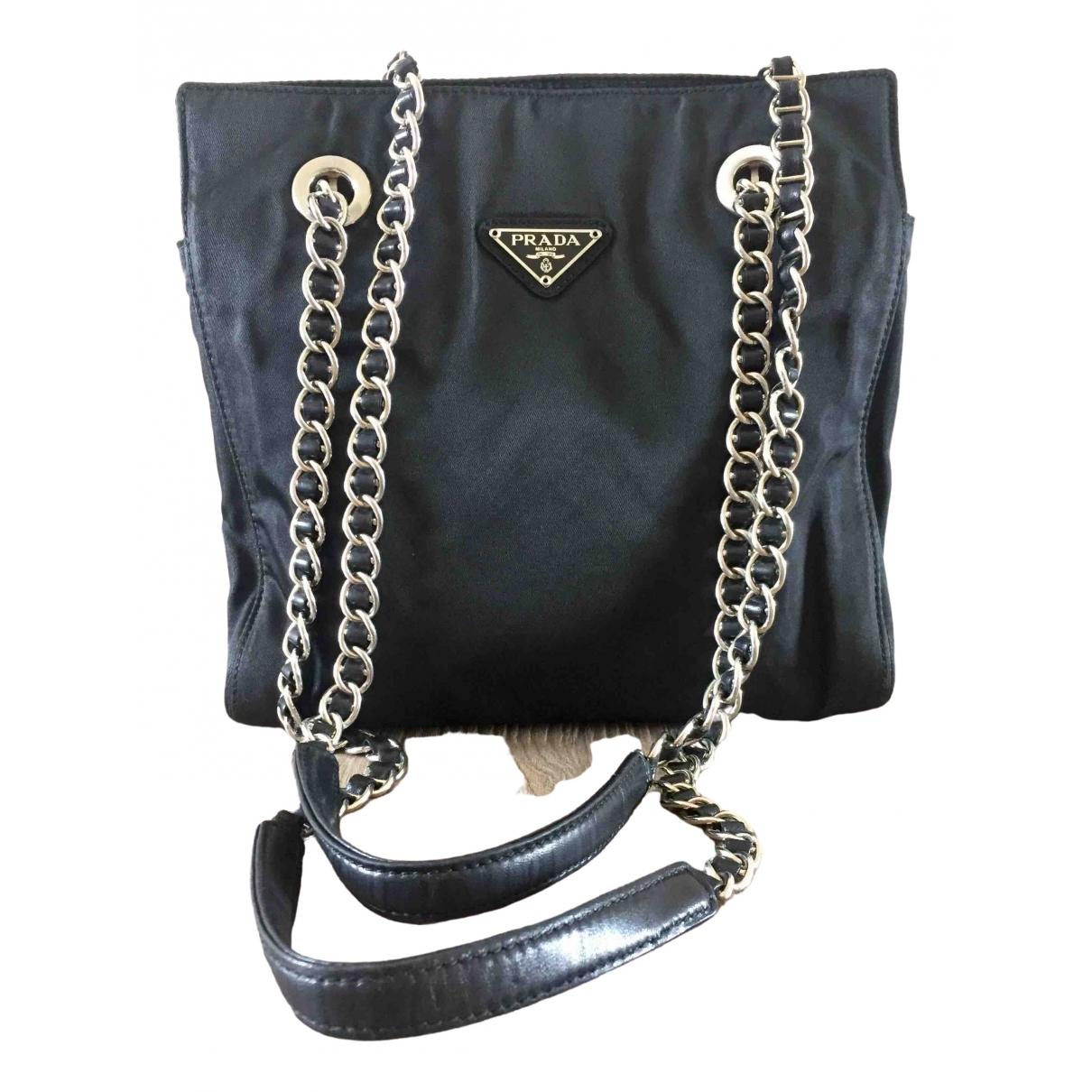 Prada Tessuto Metallo  Handtasche in  Schwarz Synthetik
