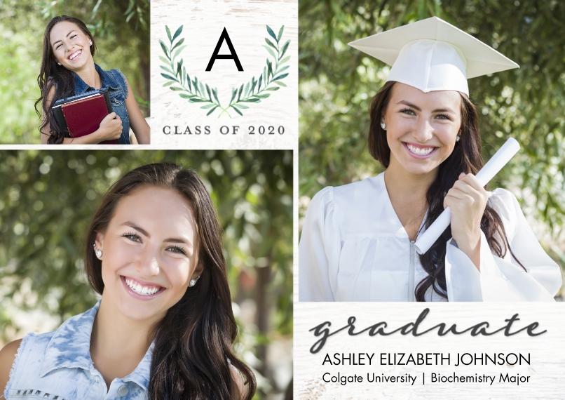 2020 Graduation Announcements 5x7 Cards, Premium Cardstock 120lb with Elegant Corners, Card & Stationery -Graduate 2020 Monogram by Tumbalina