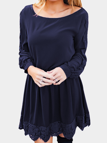 Yoins Navy Lace Insert Round Neck Long Sleeves Dresses