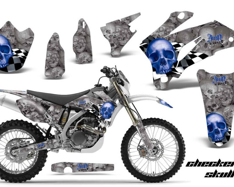 AMR Racing Graphics MX-NP-YAM-WR250F-07-14-WR450F-07-11-CS U Kit Decal Wrap + # Plates For Yamaha WR250F 2007-2014 WR450F 2007-2011áCHECKERED BLUE