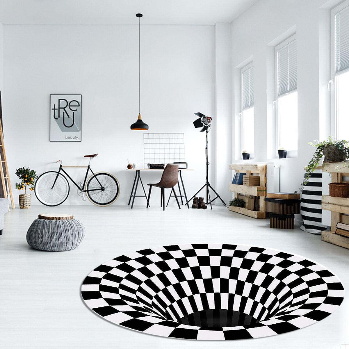 3D Round Carpet, Checkered Vortexs Optical Illusions Non Slip Area Rug, Durbale Anti-Slip Floor Mat Non-Woven Black Whit
