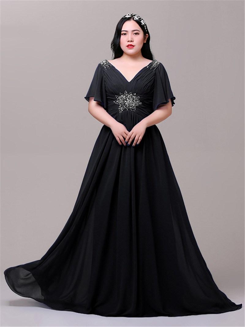 Ericdress A-Line Cap Sleeves Beading Plus Size Evening Dress