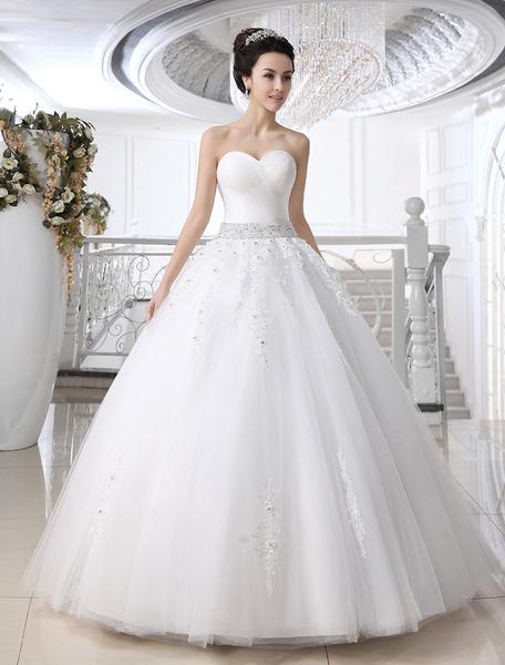 Milanoo Vestido de novia de tul blanco con lentejuelas