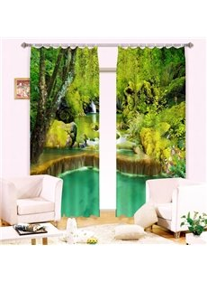 Green Forest and Waterfall Printed Thick Polyester Energy Saving Custom 3D Curtain